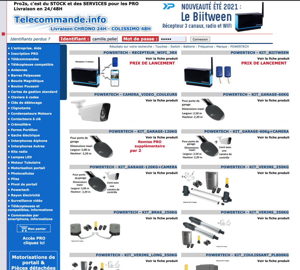 prix pro sur la gamme powertech sur telecommande.info