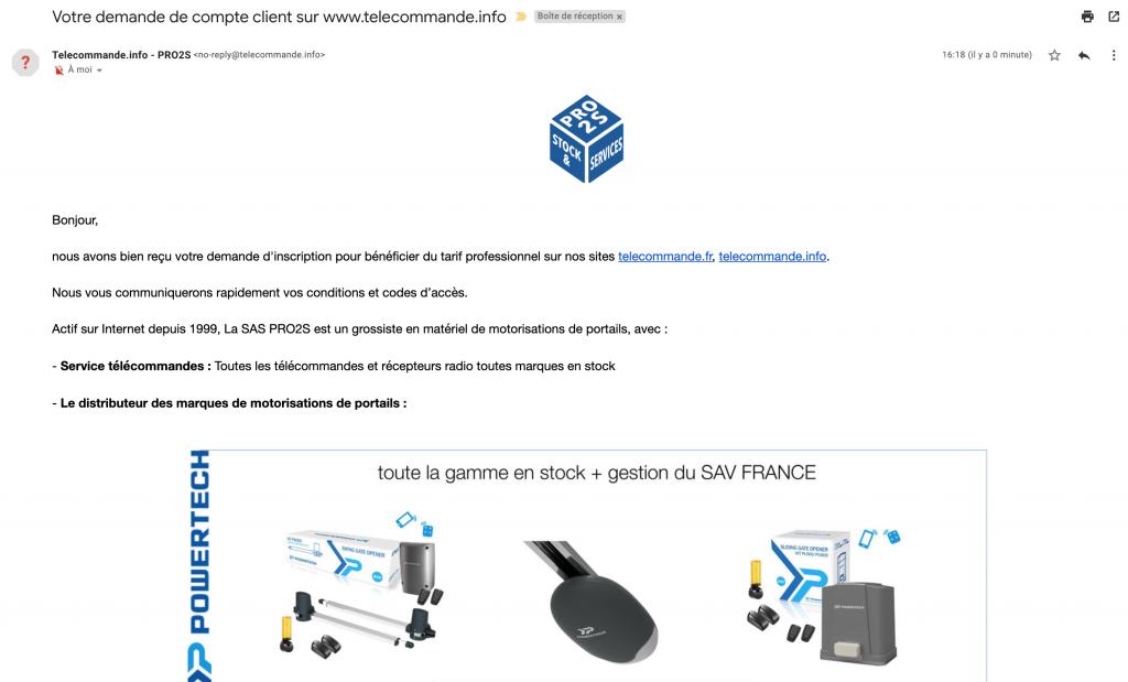 mail inscription prix pro gamme powertech